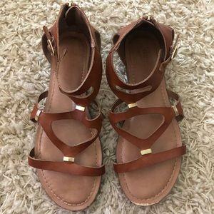 Candie's Cognac Strappy Sandals